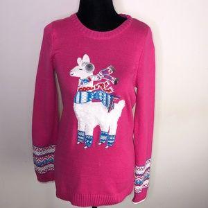 Maggie & Zoe Pink Llama Sweater ~Large US 14